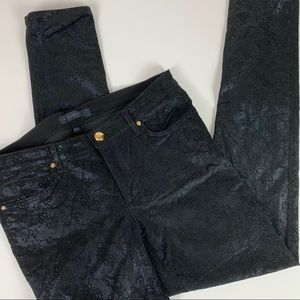 JUICY COUTURE Black with Blue Metallic Pants